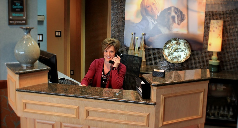 Front desk with Julie on the phone