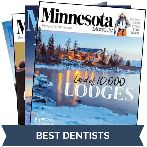 A stack of Minnesota Monthly magazines were Dr. Gorman was voted Best Dentist in Minneapolis seven years running