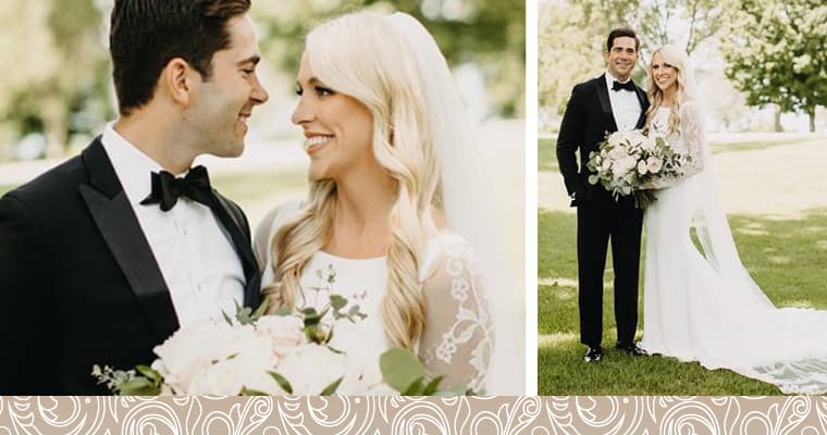 Two photo of Riley, a wedding smile makeover patient, and her husband on their wedding day wearing a white dress with white bouquet and black tuxedo.